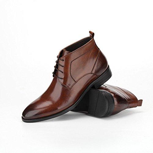 Ankle Shoes Santimon Leather Oxford Men's Boots Genuine up Lace Business Brown fqqXx74wz