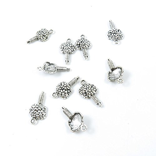 Antique Silver Flower - 10 Pieces Antique Silver Tone Jewelry Making Charms Supply ZY4162 Bouquet Flower