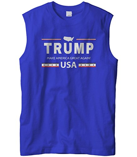 (Cybertela Men's Trump Make America Great Again USA Sleeveless T-Shirt (Royal, X-Large))