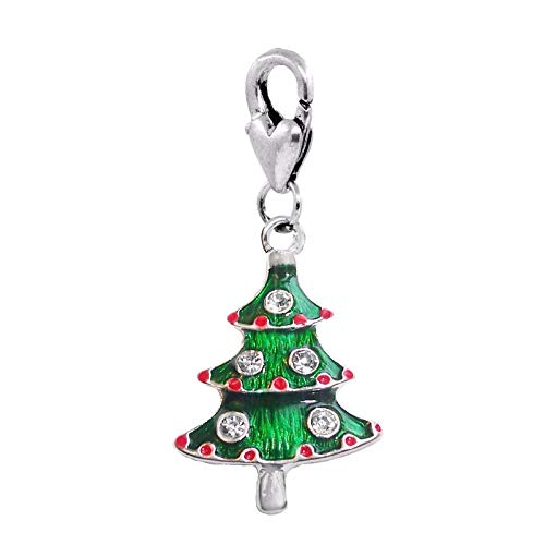 Christmas Tree Green Enamel Holiday Lobster Claw Clip Dangle Charm for Bracelets DIY Jewelry Making Supply for Charm Pendant Bracelet by Charm Crazy ()