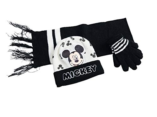 Disney Mickey Mouse Knitted Winter Set Hat Scarf & Gloves Toddlers Boys One Size