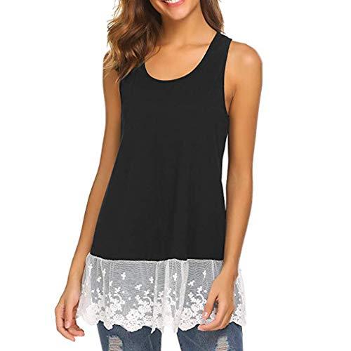 - Sunhusing Ladies Lace Stitching Sleeveless Vest with Lace Trim Hem Embellished Beach Tank Top Shirt