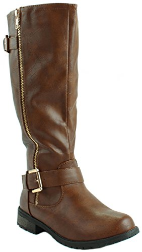 Mango 51 Leatherette and Women's Tan with Boots Forever Decorative Buckles Zipper Faux wE54yT6q
