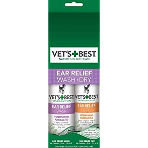 Vet's Best Dog Ear Cleaner Kit | Multi-Symptom Ear Relief | Wash & Dry Treatment | Alcohol-free 5