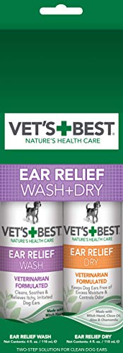 Wash Relief Ear - Vet's Best Dog Ear Cleaner Kit | Fast Relief Dog Ear Wash PLUS Lasting Ear Dry Protection | Alcohol and Hydrocortisone Free | Vet Formulated