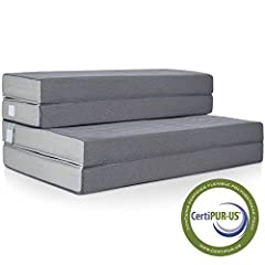 Sometimes, comfort comes in small packages. This folding Mattress topper is filled with 4 inches of soft yet firm high-density foam that molds to your body and provides total comfort. For compact storage, It folds up Three times and has 2 bui...