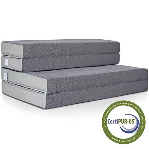 Best Choice Products SKY2760 4in Thick Folding Portable Queen Mattress Topper w/High-Density Foam, Washable Cover, Gray