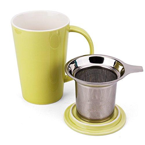 Enindel Fashion Simple Style Tea Mug with Infuser and Lid 14 OZ (Lime set of 1)