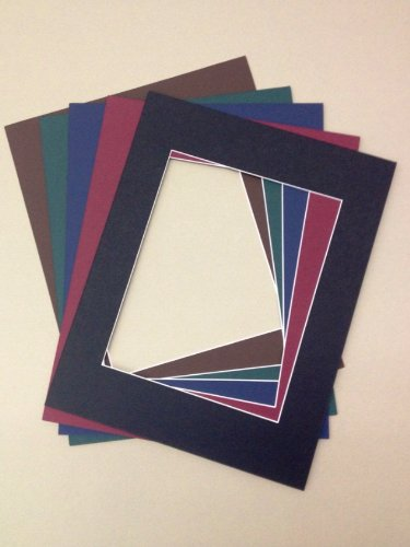 Pack of 5 18x24 Picture Mats, 5 Dark Colors, with White Core Bevel Cut for 13x19 Pictures