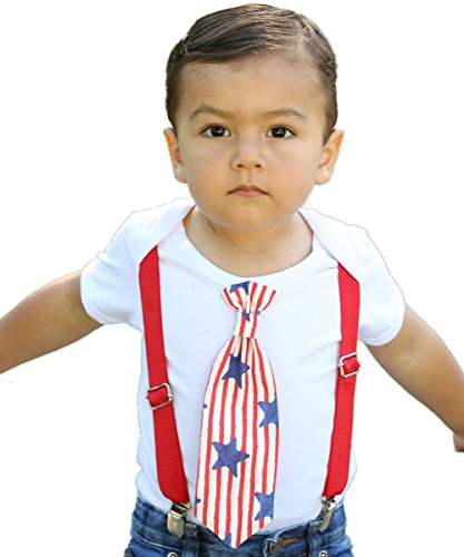 Noah's Boytique Baby Boys 4th of July Outfit Patriotic Baby Boy Clothes Stars and Stripes Bodysuit Tie and Red Suspenders 6-12 Months