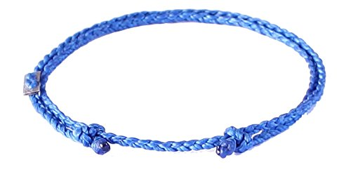 Wakami Single Strand Bracelet Anklet Handmade Adjustable Friendship Bracelets or Anklets :: Make Your Own :: Buy 3 Get 1 Free (Blue)