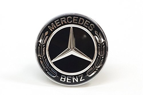 Mercedes Badge - Mercedes Benz Genuine Vehicle Hood Star Emblem Badge (000-817-17-01, Chrome and Black Laurel Wreath)