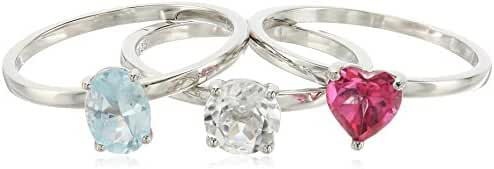 Sterling Silver Pink Topaz And Rock Crystal Accented Set of 3 Stackable Rings, Size 7