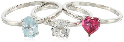 Sterling Silver Pink Topaz And Rock Crystal Accented Set ...