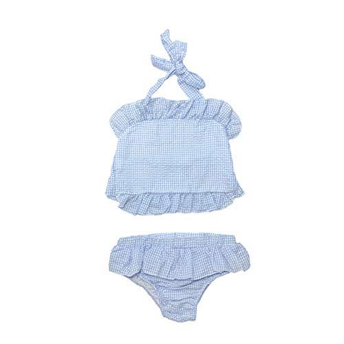 - MONOBLANKS Cute Baby Girls Ruffle Seersucker Swimwear Two Piece Bikini Swimsuit Can be Monogrammed (2/3t, Blue(Two Piece))