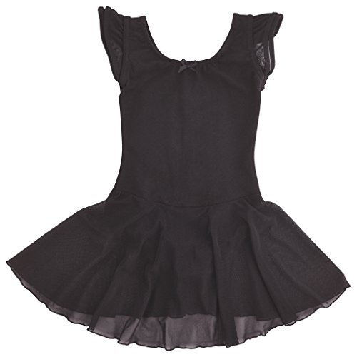 Dancina Leotard Dress Classic Flutter Sleeve Future Ballerina First Ballet Dance Costume 2-3T Black (Halloween Party Zumba)