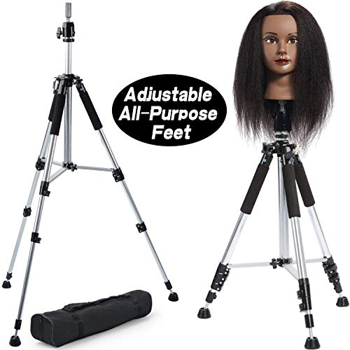 - Premium Aluminum Tripod Wig Stand, Klvied Adjustable Mannequin Head Stand, Heavy Duty Aluminum Canvas Wig Head Stand for Professional Hairdressing, Cosmetology Training With Travel Bag, Silver