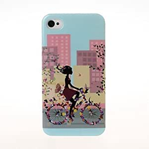 DD Fashion City Girl and Flowers Pattern Plastic Hard Case for iPhone 4/4S