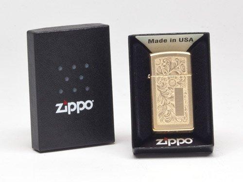 Zippo Venetian Slim High Polish Brass Pocket Lighter ()