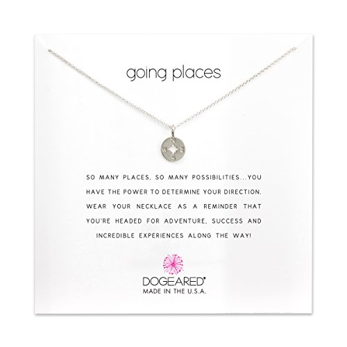 Dogeared Women's Going Places Compass Reminder Necklace Sterling Silver One Size by Dogeared