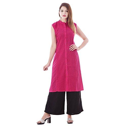 Chichi Indian Women Kurta Kurti Sleeve Less X-Large Size Plain Round Pink Top by CHI