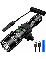 Tactical Flashlight JT10 1200 Lumen Black LED Light,2 in 1 L2 LED Tactical Flashlight with Rail Mount - 5 Modes Rechargeable Batteries and 2 Modes Pressure Switch Included,for Camping,Home,Emergency (wit licht + accessoires)