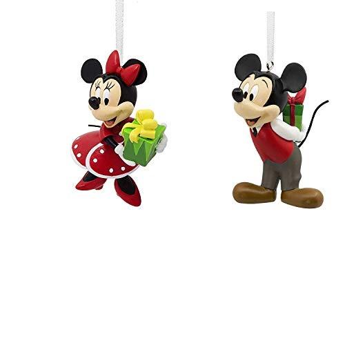 Mouse Minnie Mickey Disney (2018 Hallmark Disney Mickey & Minnie Mouse Gift Exchange Christmas Ornament Set of 2)