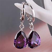 Siam panva Charming 925 Silver Waterdrop Cut Amethyst Dangle Drop Earrings Wedding Jewelry