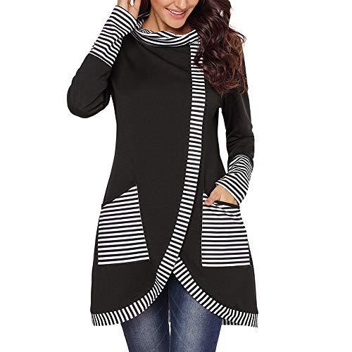 - Belgius Women's Long Sleeve Stripe Sweatshirt Cowl Neck Asymmetry Tunic Pullover Tops Black M