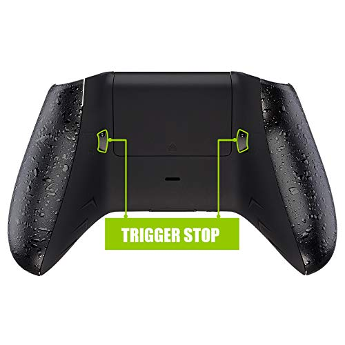 eXtremeRate FlashShot Trigger Stop Bottom Shell Kit for Xbox One S & One X Controller, Redesigned Back Shell & Textured Black Handle Grips & Hair Trigger for Xbox One S X Controller Model 1708