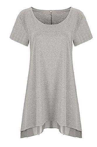 Jaycargogo Womens Manches Courtes En Mousseline De Soie Ras Du Cou Robe Tunique T-shirt Gris Clair Décontracté