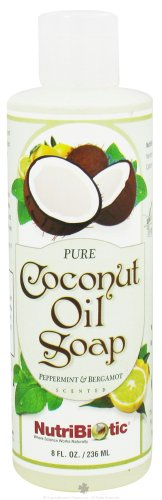 Nutribiotic Pure Coconut Oil Soap, Peppermint and Bergamot, 8 -
