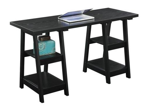 Convenience Concepts Double Trestle Desk Black
