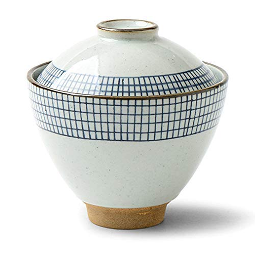 "- SANFEN Japanese Ceramic Bowls with Lids, 4.5"" Handmade Small Serving Bowls Miso Soup Salad Bowls Set Blue & White Dinnerware"