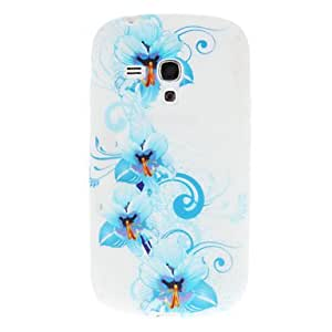 Light Blue Flowers Pattern Soft TPU Back Cover Case for Samsung Galaxy S3 Mini i8190