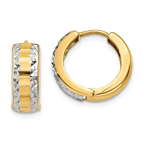 Solid 14k Yellow and White Gold Two Tone Hinged Hoop Earrings (5mm x 10mm)