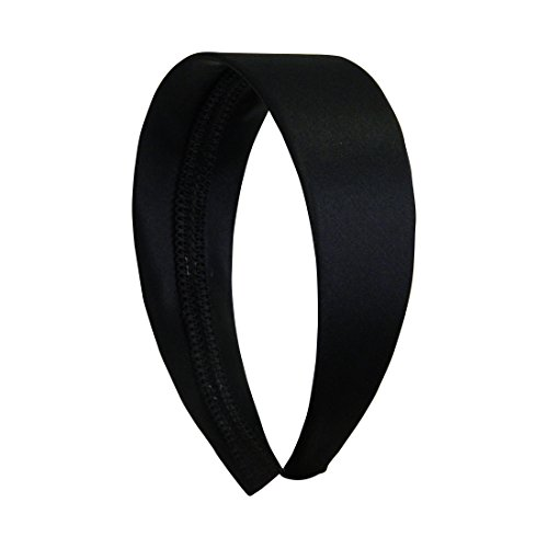 Black 2 Inch Wide Satin Hard Headband with No Teeth Head band for Women and Girls (Motique Accessories) -
