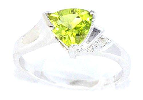 (Simulated Peridot & Diamond Trillion Ring .925 Sterling Silver Rhodium Finish)