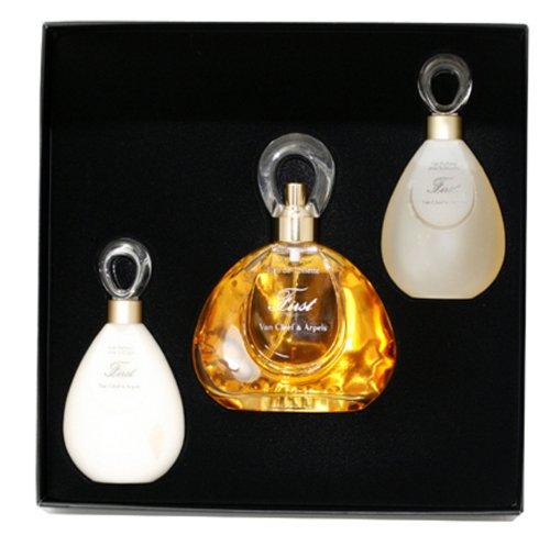 First By Van Cleef & Arpels For Women. Gift Set ( Eau De Toilette Spray 3.3 Oz / 100 Ml + Perfumed Body Lotion 1.7 Oz + Perfumed Shower Gel 1.7 Oz ) (First Van Cleef And Arpels Gift Set)