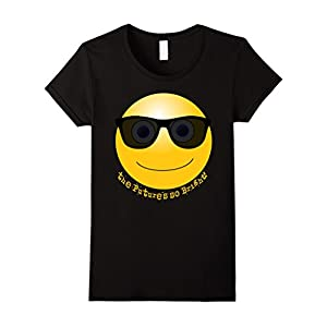 Womens IconicTees Future's So Bright Smiley Face Sunglasses T-Shirt Large Black