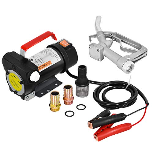 Goplus 12V 10GPM Electric Fuel Transfer Pump Kit Diesel Kerosene Oil Transfer Extractor W/Hose & - Oil Pump Filter Fuel
