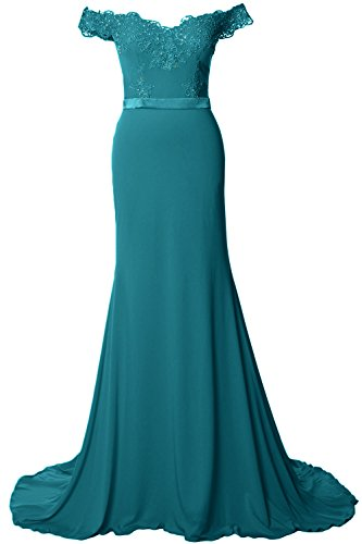 MACloth Women Off Shoulder Long Prom Dress 2017 Jersey Lace Evening Formal Gown Teal