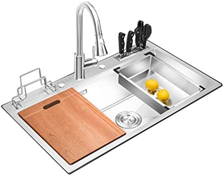 ADKINC 32 in Single Bowl Kitchen Sink, 304 Stainless Steel Sink, Wear Resistant, with Mute and Anti-Condensation, Contains attachments Thanksgiving Gift