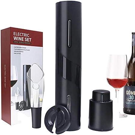 Sacacorchos eléctrico, abridor de vino, abrebotellas eléctrico, con tapón de vacío, cortador de láminas, vertedor de vino para fiestas y citas (set de regalo 4 en 1)