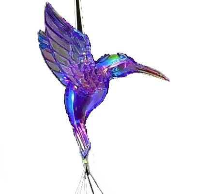 Wind Chime Unique Hummingbird Iridescent Blue (Rainbow Effect) in Flight - Wind Chime- Arcylic Multifaceted Crystal Like Globes Create Sparkles in Bright Sunlight, Indoor - Outdoor Decor 20 Inches - Flight Crystal