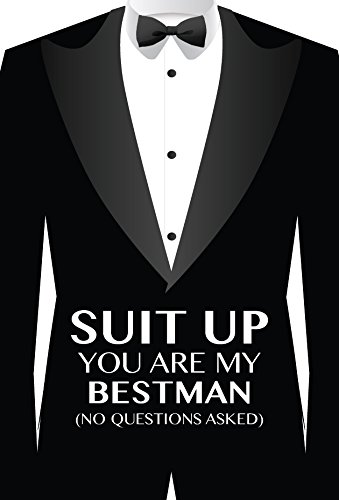 Suit up mini wine bottle label stickers for the best man and