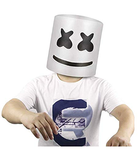 Highjump DJ Mask Party Props Helmet Hard Latex Solid Masks,Top 10 DJs Marshmello Helmet Music Festival Marshmallow Head Mask Cosplay Mask -