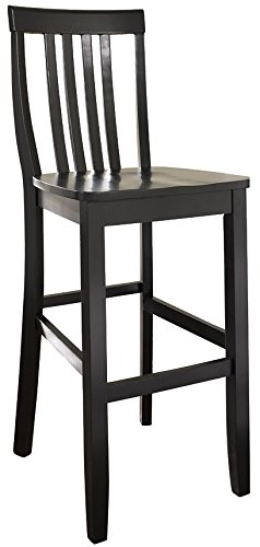(Crosley Furniture CF500330-BK Schoolhouse Bar Stool (Set of 2), 30-inch, Black)