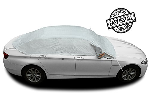 "Safe View Half Car Cover Top Waterproof All Weather/Windproof/Dustproof/Windshield Cover Snow Ice Winter Summer For Sedan SUV (Sedan 3L(173""-181"")"