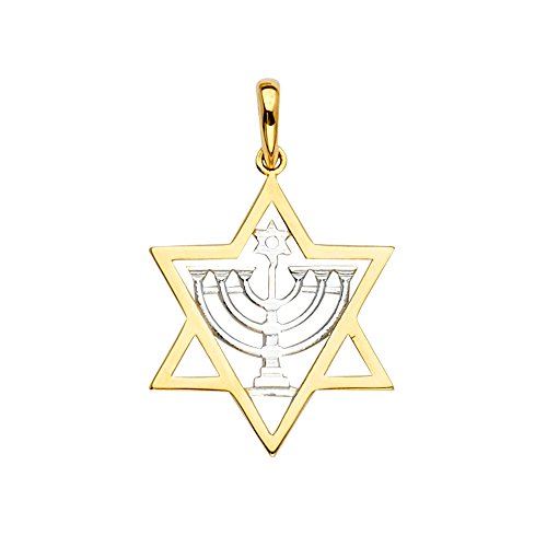 Jewels By Lux 14K Yellow And White Gold Stone Menorah Pendant 29mm X 19mm